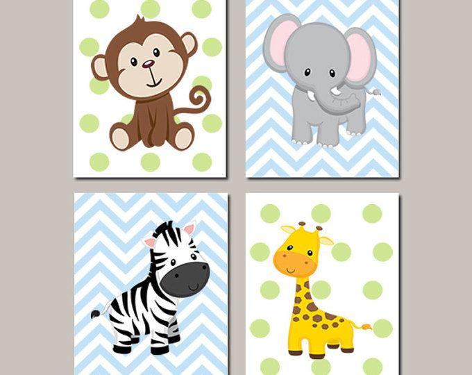 JUNGLE Nursery Wall Art ELEPHANT Giraffe Zebra Monkey Set of 4 Prints Or Canvas Zoo Safari Animals Baby Boy Decor Wall ART Jungle Decor