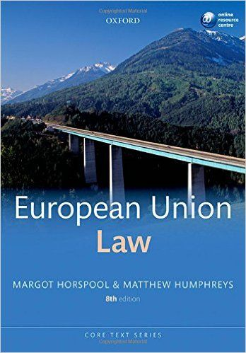 EUROPEAN UNION LAW de Margot Horspool et Matthew Humphries. EU Law provides a systematic overview of the European institutions and offers thorough, wide ranging coverage of the key substantive law topics, including separate chapters on discrimination, competition and environmental law. Incisive analysis of the governing themes and principles of EU law is consistently delivered in a format...Cote : 3-11 HOR