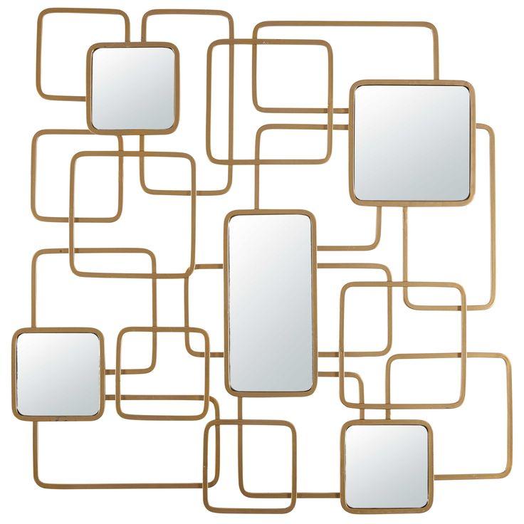 Miroir en métal doré 92x92cm 70's EFFECT