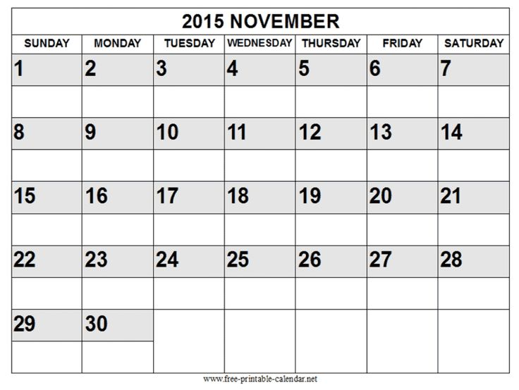 11 best Free Printable Calendar November 2015 images on Pinterest - 2015 calendar template with holidays