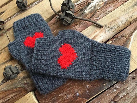 Women Knitted Gloves Gray Fingerless Gloves Heart gloves