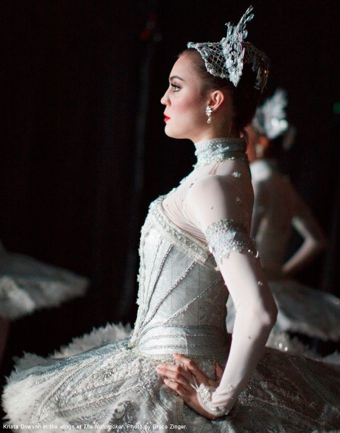 The Nutcracker Backstage: Krista Dowson in the wings poised and ready to go onstage.