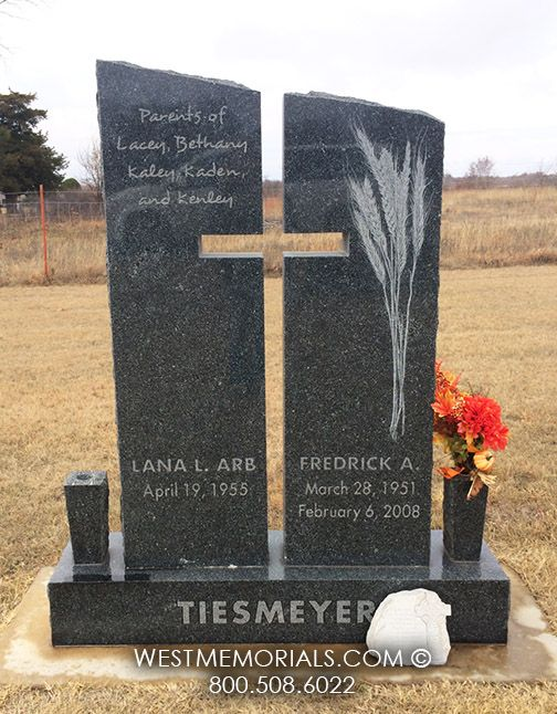 Tiesmeyer - Granite headstone with cross carved in center by West Memorials