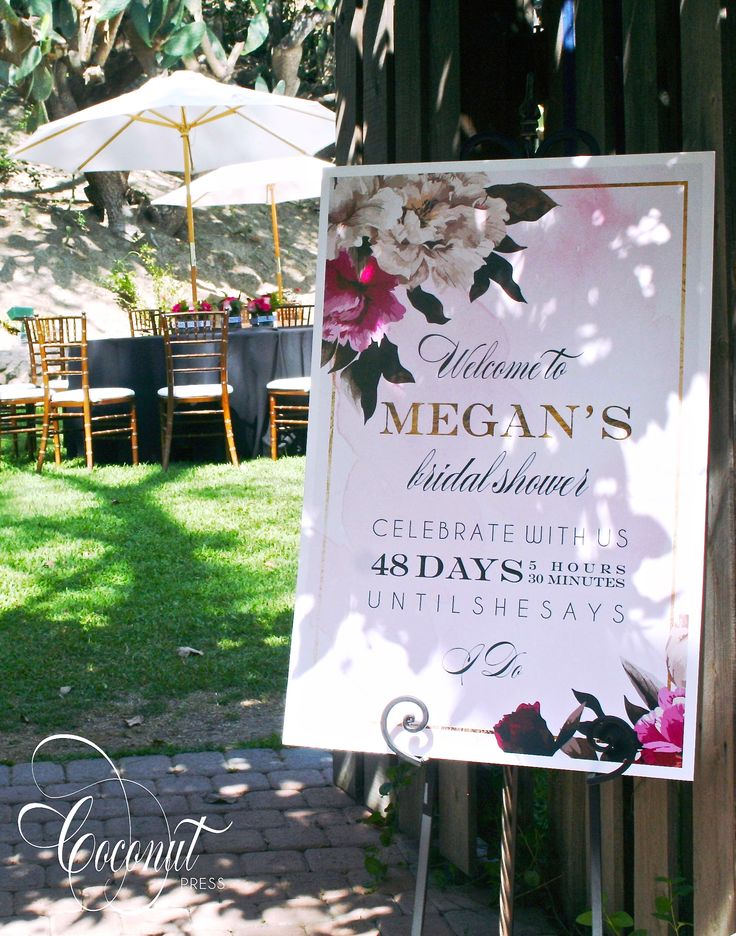 Bridal Shower Welcome Sign // Bridal Shower Decor // Floral, Gold, Watercolor, Pink // Design by Coconut Press