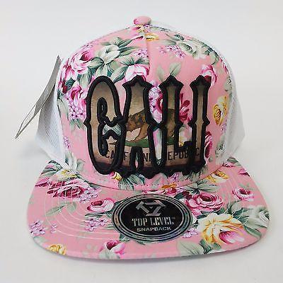 CALIFORNIA REPUBLIC Snapback Cap Hat CALI Bear Flag Pink Floral Flat Bill NWT