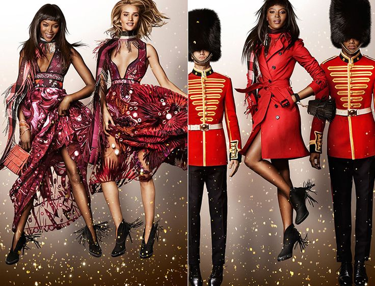 Naomi Campbell y Rosie Huntington-Whiteley saltan a sus anchas homenajeando a Billy Elliot. © Burberry