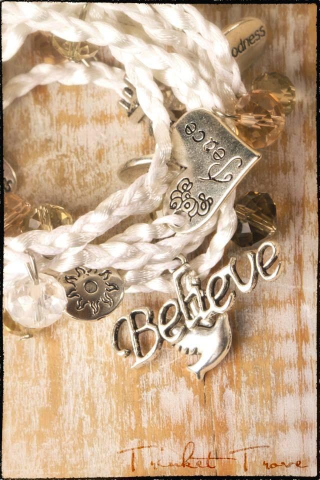 Beautiful white Believe wrap bracelet.