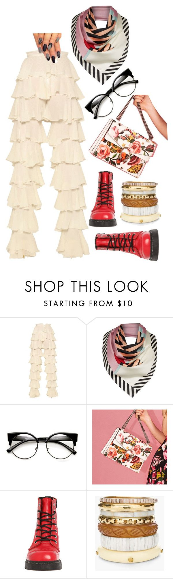 """White-off-day"" by stapleluc on Polyvore featuring Balmain, Lulu Guinness, Gucci, T.U.K. and Chico's"