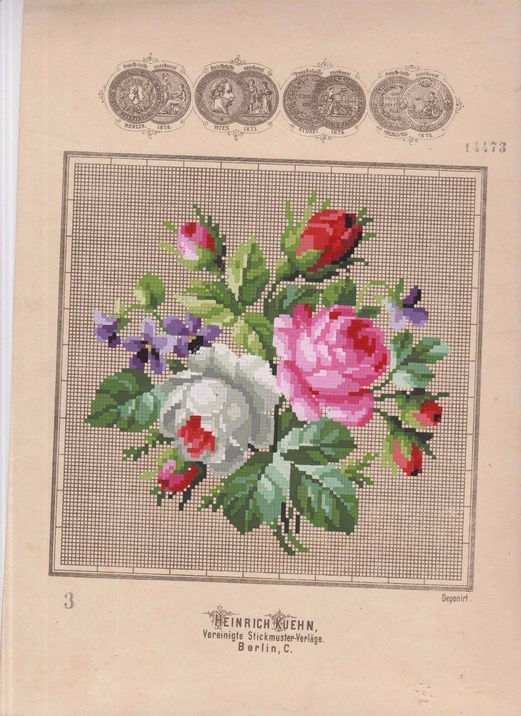 Antique woolwork peint à la main point de Berlin Henrich KUEHN Bouquet fleurs   eBay