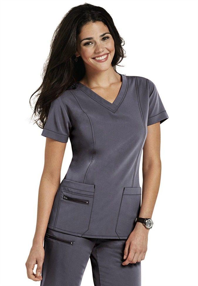 Jockey v-neck zipper pocket scrub top. - Scrubs and Beyond