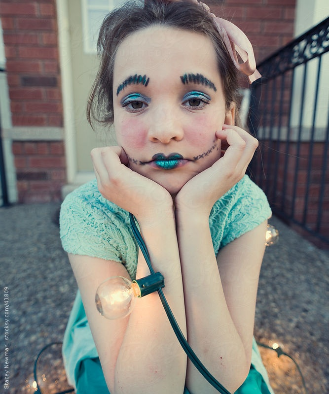 Girl in Doll Face, Emotion, Expressions, Electricity, Magical by Stacey Newman