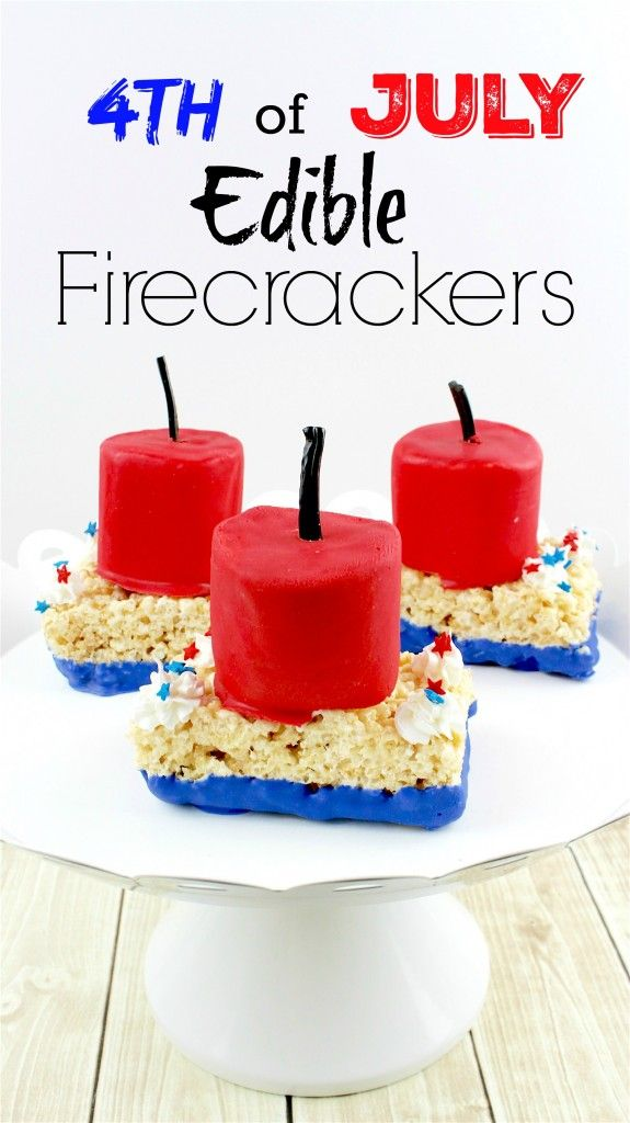 AHHH! INSANELY Awesome 4th of July Edible Firecracker rice krispy treats! These rice krispies look ridiculously easy and will be a HUGE hit at our party! My kids can even decorate these patriotic treats!