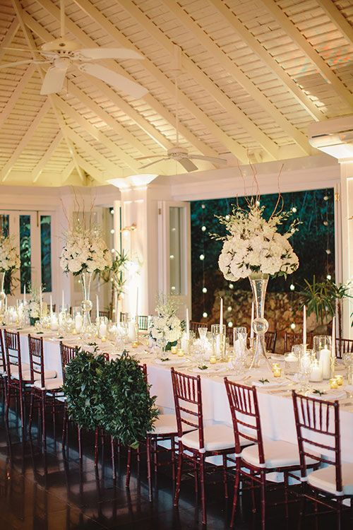 Caroline and Matthew, Destination Wedding at Round Hill Resort Jamaica - Long White Reception Table