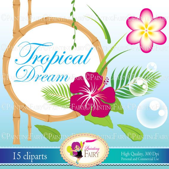 INSTANT DOWNLOAD Digital ClipArt Tropical Dream cute Magnolia Hibiscus flowers Paradise Island Plant Palm Personal Commercial Use pf00059-3 Supplies Scrapbooking Paper designer resource cu birthday scrapbook invitation kid party Holiday Aloha Luau clip art paper goods border frame circle handmade round beach Hawaiian Summer girl clipart baby shower fun happy wedding leaves boy supplies supply Tropic color Hawaii bamboo jungle
