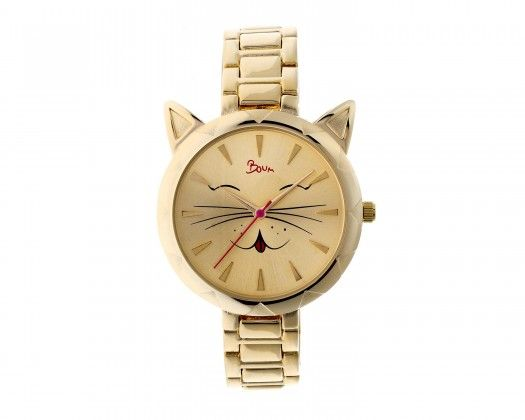 chicmarket.com - Boum Miaou Cat-Accent Bracelet Watch - Gold