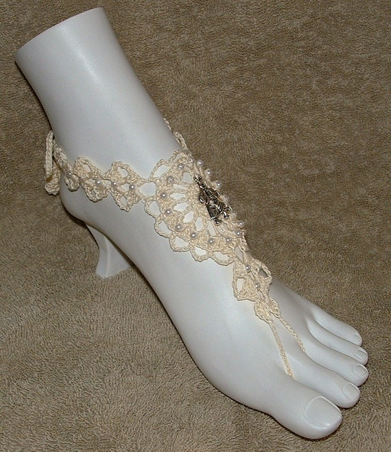 Wedding Barefoot Sandals in Ivory with Pearl by gilmoreproducts33, $14.00