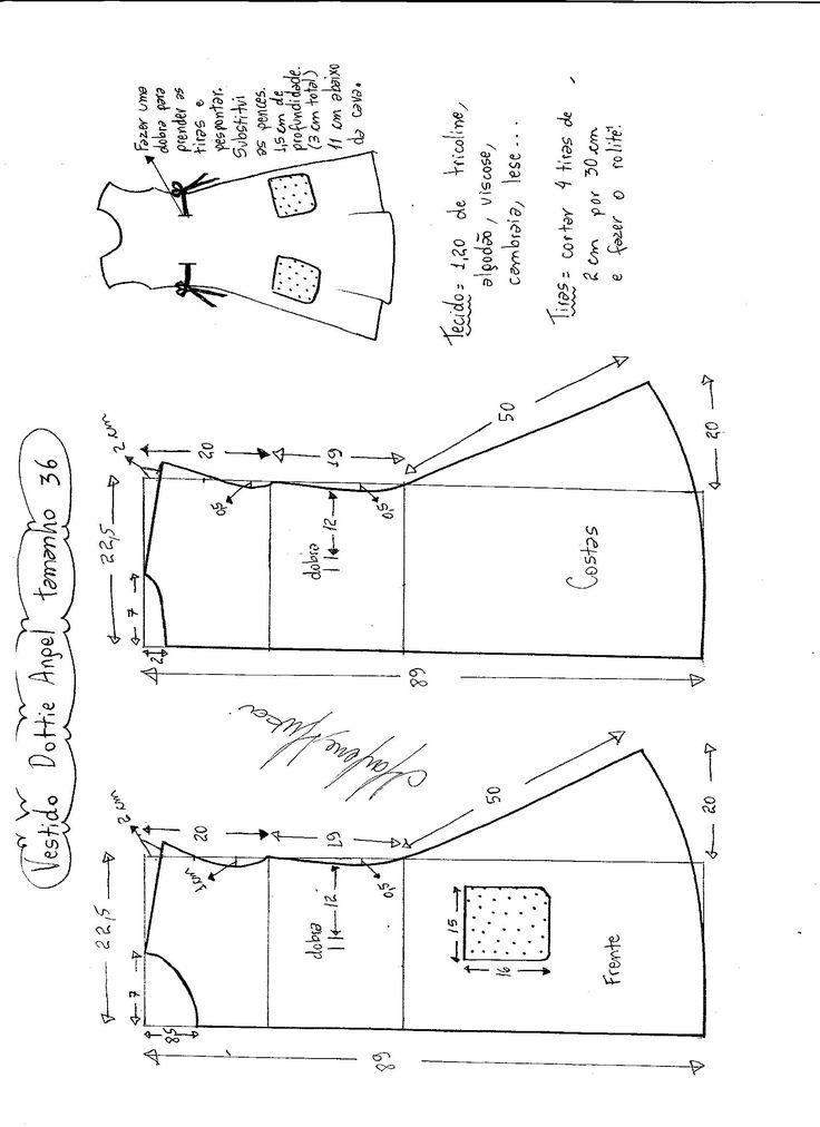 Esquema de modelagem de Vestido Dottie Angel tamanho 36.