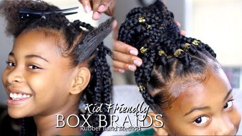 "NATURAL HAIR | HOW TO: BOX BRAIDS ""RUBBER BAND METHOD"" KIDS HAIRSTYLE [Video] - https://blackhairinformation.com/video-gallery/natural-hair-how-to-box-braids-rubber-band-method-kids-hairstyle-video/"