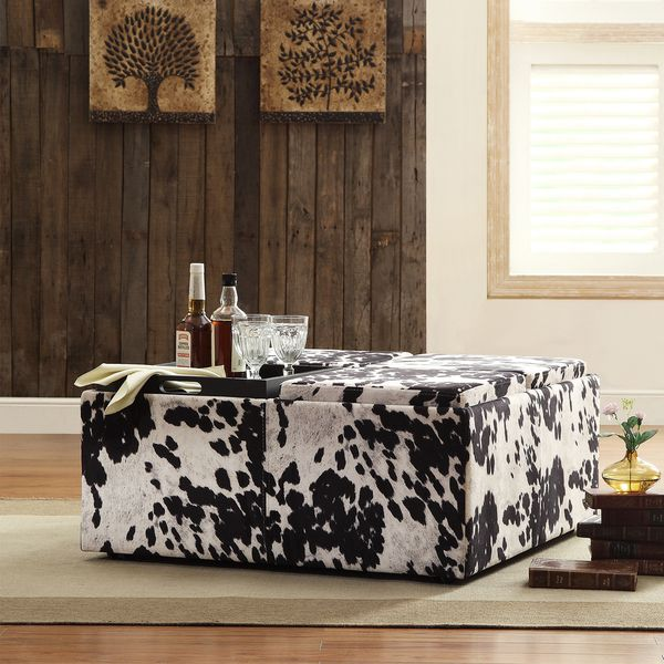 INSPIRE Q Montrose Black & White Faux Cow Hide Modern Storage Ottoman - Overstock Shopping - Great Deals on INSPIRE Q Coffee, Sofa & End Tables