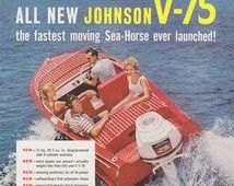 Annonce Marine Vintage, des années 1960, Johnson moteur hors-bord, canotage, impression annonce, bateau à moteur, bateau à moteur publicité, cheval de mer, bateau annonce moteur