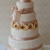 Creme Caramel Wedding Cake by CakeSweetCake; soft pink and caramel colours