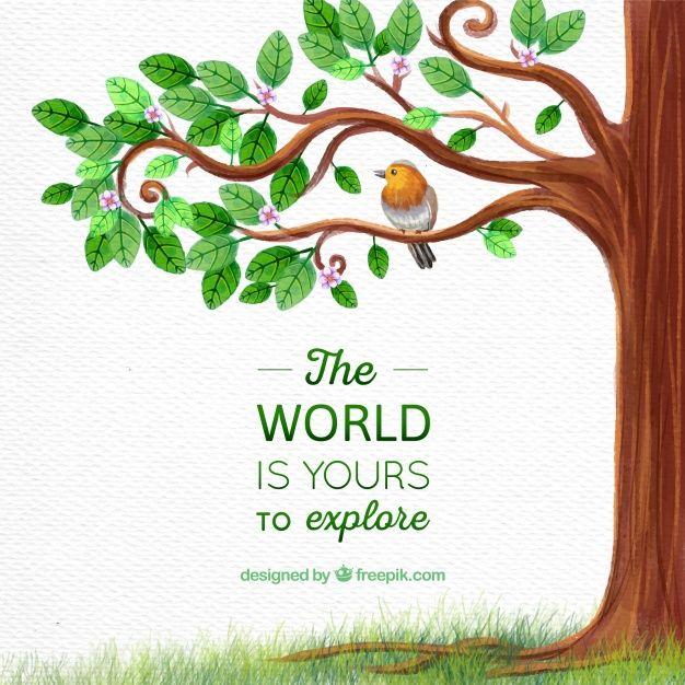 árbol con pájaro y mensaje inspirador  Vector Gratis