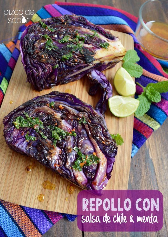 Repollo con salsa de limón, chile y menta www.pizcadesabor.com