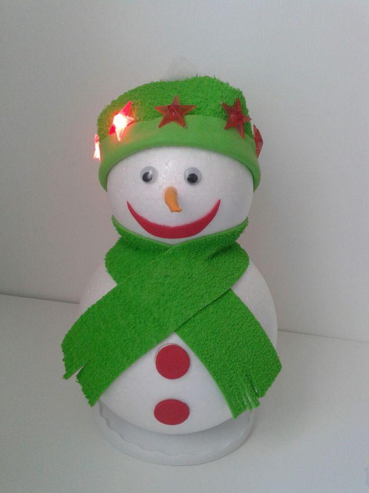 Muñeco de nieve con luces en el gorro 15€