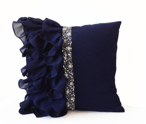 Navy Blue Ruffled Sequin Throw Pillow Cover Navy by AmoreBeaute
