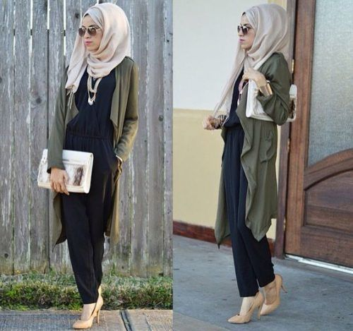 long olive cardigan hijab
