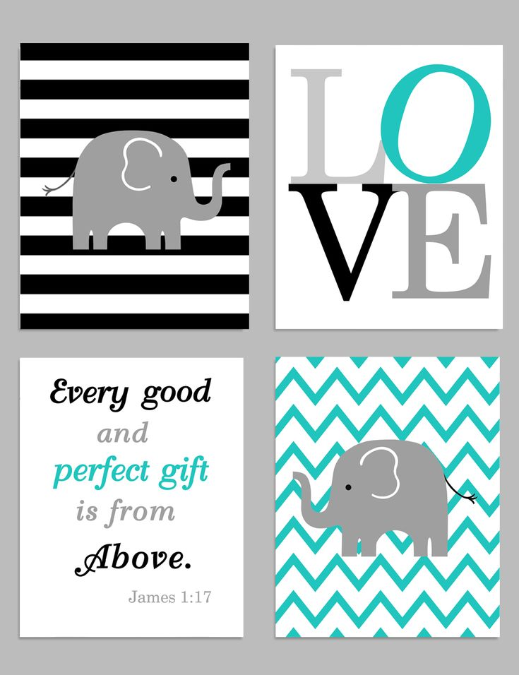 Zoo Nursery Wall Art, Every Good and Perfect Gift, Love Print