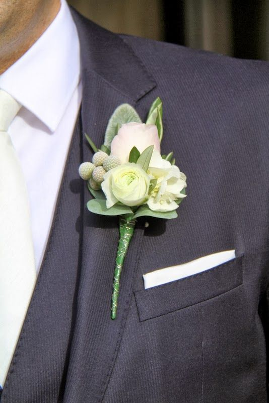 Boutonniere included fresh Olive foliage, English Rose with Hydrangeas, Ranunculas with Stachys, Hydrangeas, Albiflora and Eucalyptus foliage