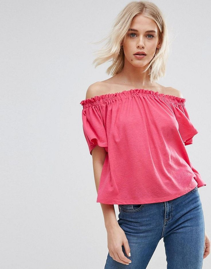 Buy it now. New Look Shirred Bardot Top - Pink. Top by New Look, Linen-mix knit, Bardot neck, Shirred stretch insert, Relaxed fit, Machine wash, 83% Polyester, 17% Linen, Our model wears a UK 8/EU 36/US 4. ABOUT NEW LOOK Transforming the coolest looks straight from the catwalk into wardrobe staples, New Look joins the ASOS round up of great British high street brands. Get it or regret it with its weekly drops of essential coats, statement partywear and sleek boots, from ankle to…