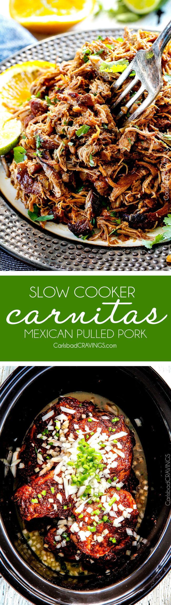 these are the BEST Pork Carnitas (Slow Cooker Mexican Pulled Pork) I have ever tried! Super juicy, easy and so much more flavorful than other versions I've tried and the crispy burnt ends are the best! Great for large crowds and for tacos, burritos, or nachos! #mexicanfood