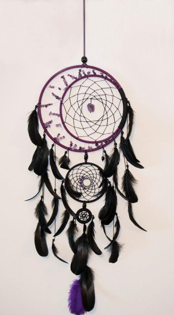 Grand dreamcatcher violet noir, grand rêve capteur améthyste dream catchers Boho dreamcatcher, plumes de cadre en bois de rêve Pierre améthyste