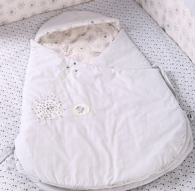 Car Sleeping Bag Light Gray Cotton Neonatal Autumn and Winter Thick Blanket LD1124046