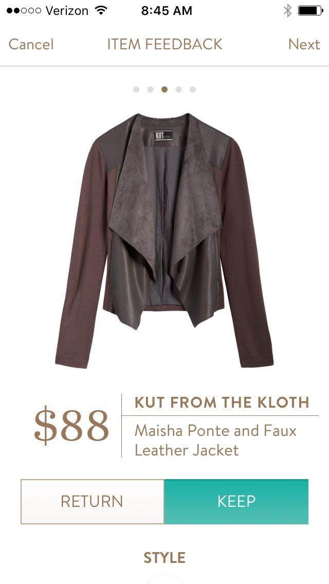 Fix 14 - Kut from the Kloth Maisha Ponte and Faux Leather jacket. Too drapey for my big chest. RETURNED.