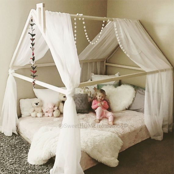 Wood bed FULL/DOUBLE toddler bed tent bed wooden house bed