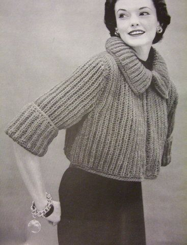Vintage Knitting Pattern: 1950s bulky sweaters and jackets