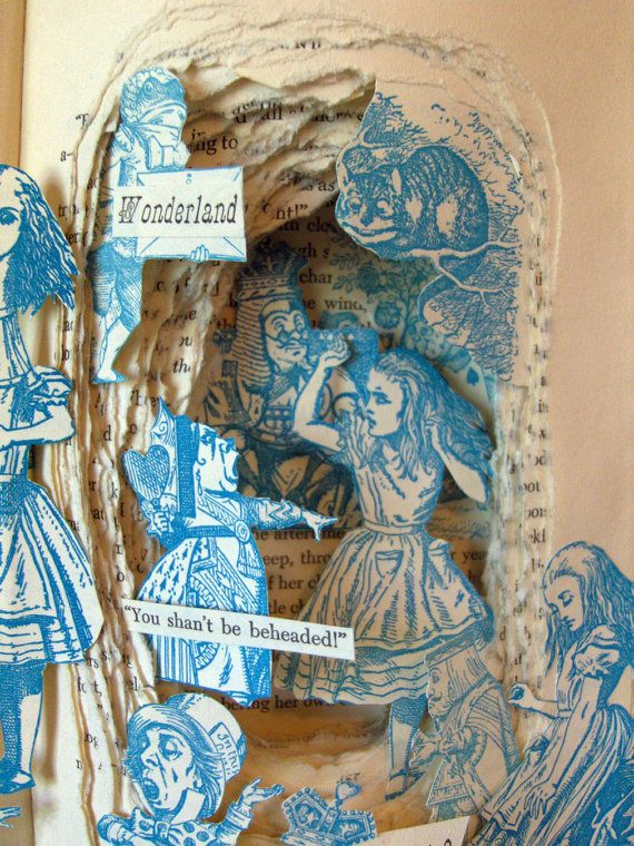 Alice in Wonderland book sculpture by Kelly Campbell