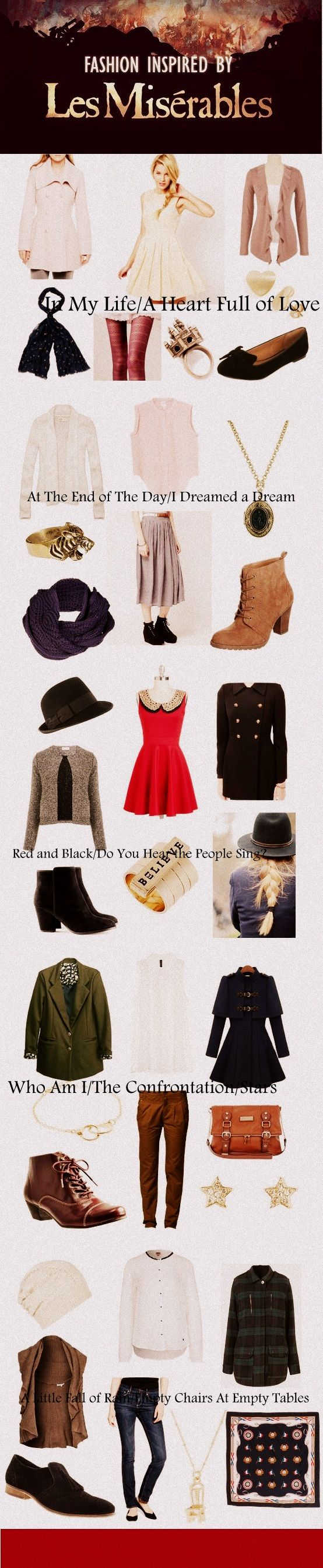 """Les Miserables inspired fashion - love the """"Red and Black/Do You Hear the People Sing?"""" and """"A Little Fall of Rain/Empty Chairs at Empty Tables"""" outfits."""