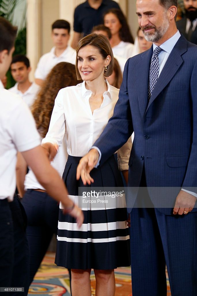 King Felipe of Spain and Queen Letizia of Spain receive 'Becas Europa' participants of Francisco de Vitoria University on July 17, 2015 in Madrid, Spain.