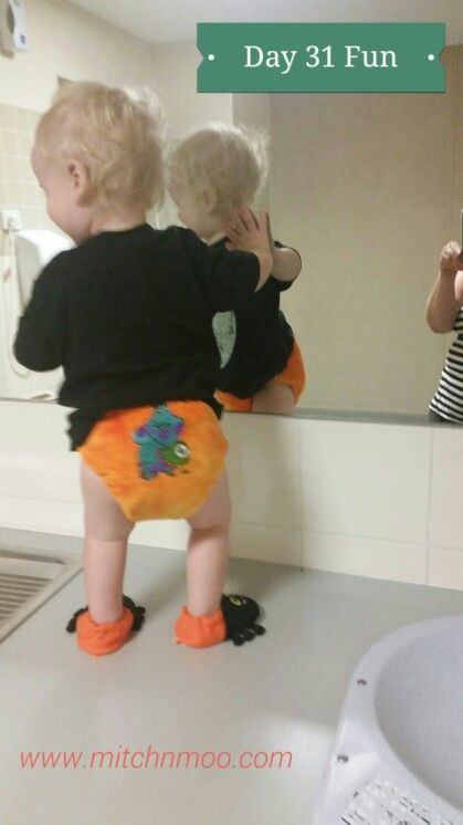 Day 31 #fun  If you can't have some #cloth fun on Halloween, when can you. #clothnappies #clothshotaday #getintocloth @austnappyassoc