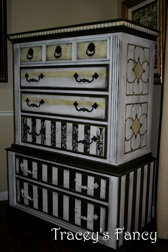 It's like a stained glass window for furniture!!!     By - Tracey's Fancy: Paintings Furniture, Country Dressers Chest, Antiques Furniture, Diy Black And White Furniture, Vintage Cottages, Paintings Dressers, Cottages French, Black White, French Country