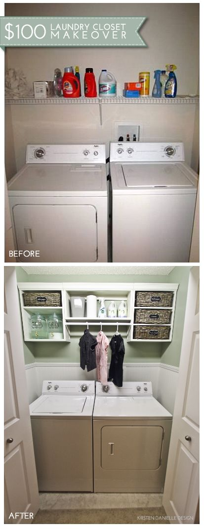 Keep your laundry room organized by adding a closet shelving kit above the washer and dryer. You can keep laundry accessories hidden away in bins, and you'll also have room for clothes that need to be hung to dry. #Storage #Organize #Laundry