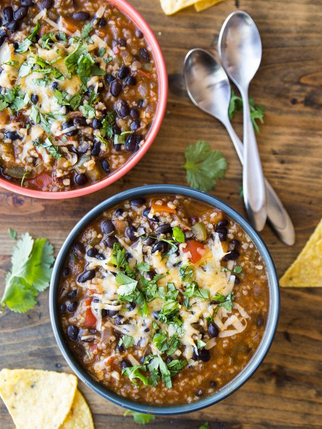 High Protein Bulgur Black Bean Enchilada Chili - hearty, flavorful vegetarian chili with almost 20 grams of protein per serving!