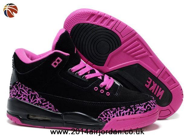 Women Air Jordans 3 (III) Fluff Black Pink