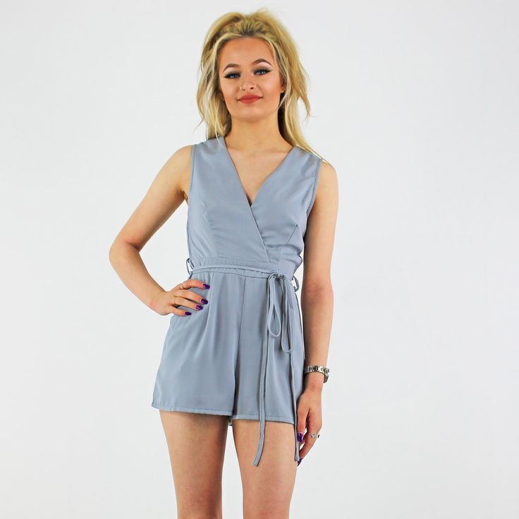 PinkCad31 Grey Sleeveless Silky Wrap Front Tie Belt Going Out Playsuit