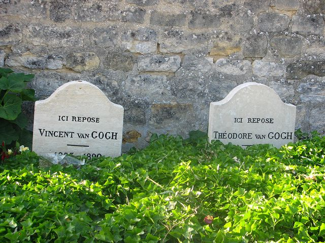 Vincent and Theo buried together in Auvers-sur-Oise. Theo dies and is buried in De Built. Vincent's stone bears the inscription: Ici Repose Vincent van Gogh (1853–1890), Theo's Ici Repose Theodore van Gogh (1857–1891)