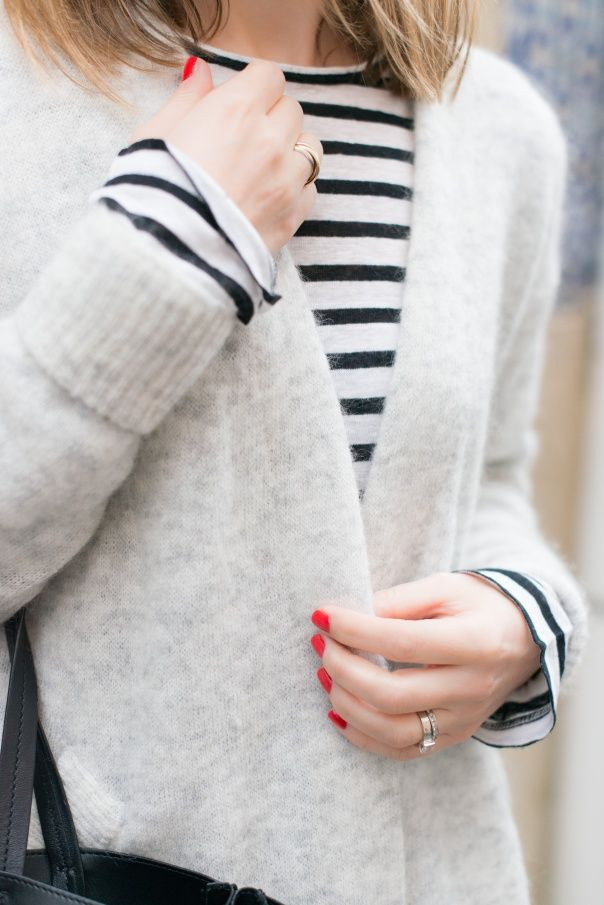 stripes + cardigan + red nails